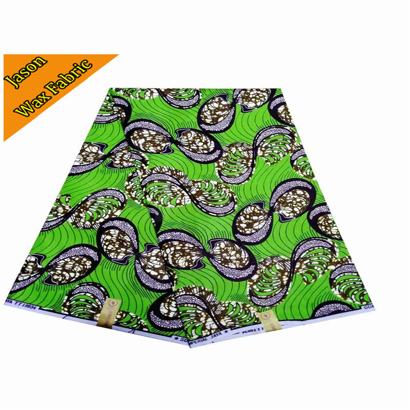 African real wax cloth 100% Polyester new design green super wax prints fabric 6yards/lot for dress LBL