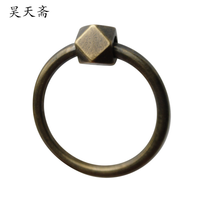 [Haotian vegetarian] Chinese antique copper door handle ring handle HTA-107 Huizhou section [haotian vegetarian] door knocker chinese decoration antique copper handle antique handle hta 096 chassis