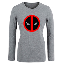 Anime Marvel Comics Deadpool Graphic T Shirt Women Spring Autumn Full Sleeve T-shirt Cosplay TV Show Girls Tshirt Street Tops
