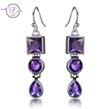Lavender Amethyst Studded  925 Sterling Silver Fashion Long earrings Jewelry For Women Party Anniversary Birthday Gift