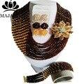 2017 Brown De La Manera de Nigeria beads africanos Boda joyería conjunto de Cristal collar de la pulsera de La Joyería Nupcial fija El Envío libre GG-459