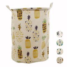 Cactus Pattern Waterproof Foldable Linen Cotton Canvas Laundry Basket Desk Toy  Storage Box Holder Storage Buckets