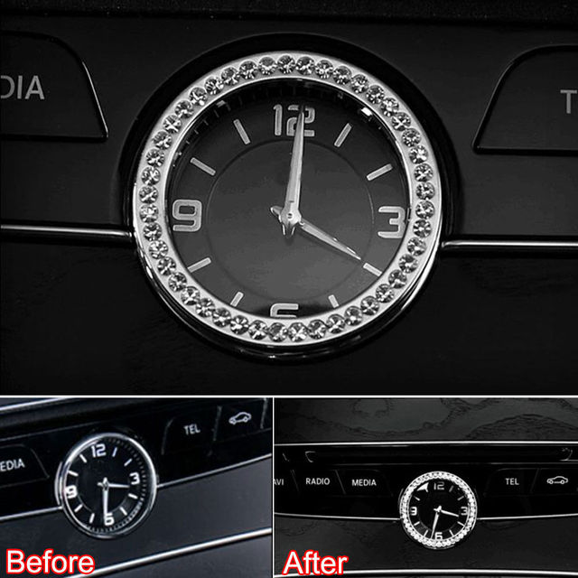 console tableau de bord horloge montre cover version diamant d cor anneau voiture housses. Black Bedroom Furniture Sets. Home Design Ideas