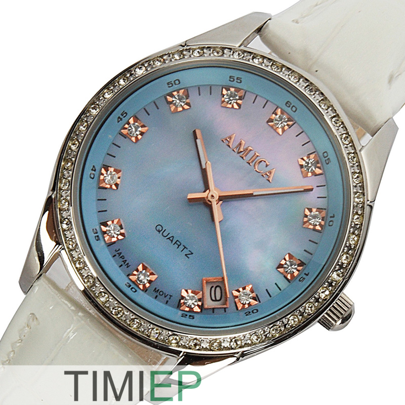 AMICA luxury crystal Diamond Blue Shell Dial Womens quartz watch ladies watch amica luxury crystal diamond blue shell dial womens quartz watch ladies watch