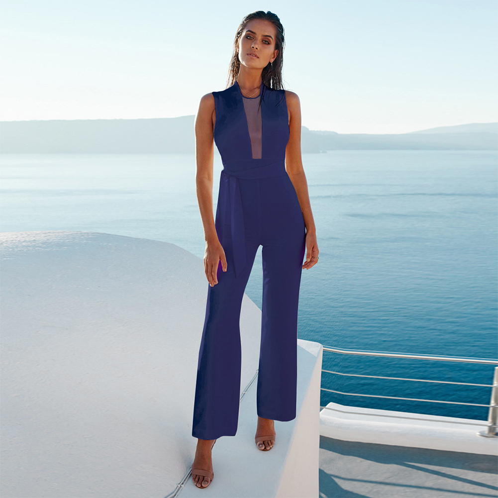 One Piece Solid Slim Fit Evening Party Daily Straight Sleeveless Deep V Neck Sexy Dating High Waist Spring Summer Women Jumpsuit Beautiful In Colour Women's Clothing