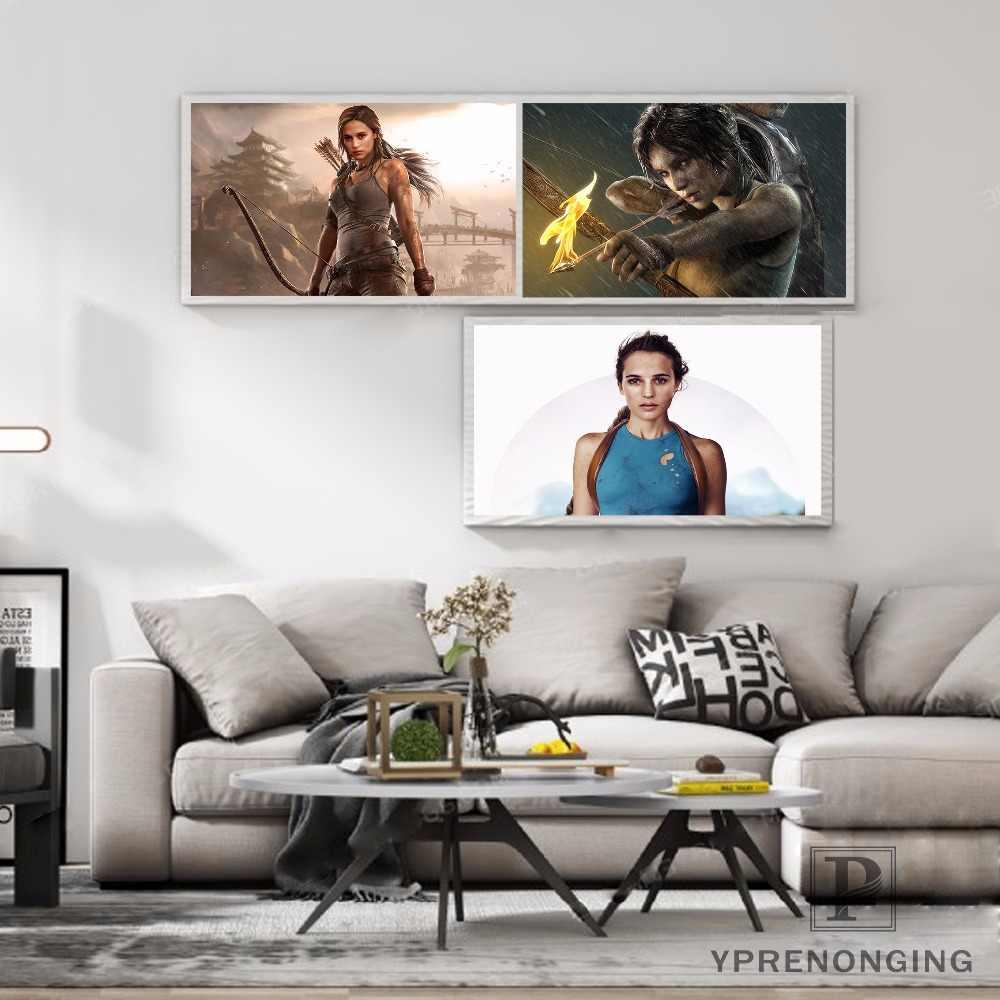 قماش المشارك الحرير نسيج القابل للإزالة جدارية ديكور المنزل es المشارك أعلى بيع تومب رايدر لارا كروفت لعبة ملصق #180327 -56