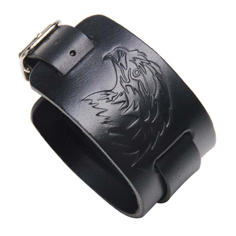 MJARTORIA 2018 New Male Punk Rock Style Eagle Leather Bracelet Men Black Brown Imprint Wide Bracelets Bangles Vintage Jewelry