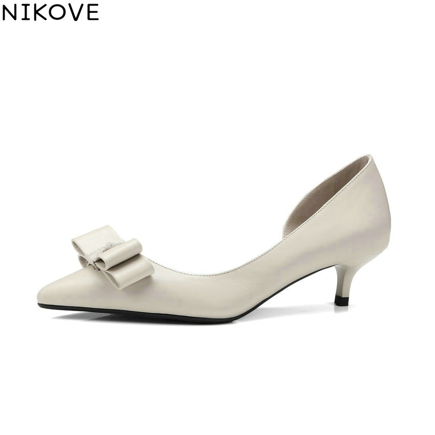 NIKOVE 2018 Women Pumps Shallow Shoes Slip on Pointed Toe Cow Leather PU Thin Med Heels Butterfly-knot Women Shoes Size 34-41 women genuine leather slip on pointed toe lazy shoes sweet bow knot shallow party spring autumn women pumps black pink