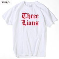 Fashion Men Tee Shirt O Neck Short Sleeves Boy Men England Euro Footballer Three Lions T