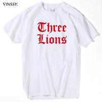 Fashion Men Tee Shirt O Neck Short Sleeves Boy Men England Euro Footballer Three Lions T