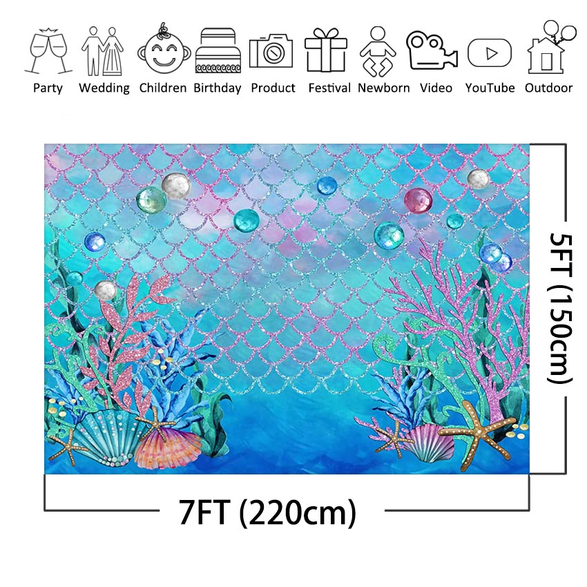 MEHOFOTO Under The Sea Blue Photography Backdrop Ocean Mermaid Theme Girl Birthday Party Decoration Photo Background