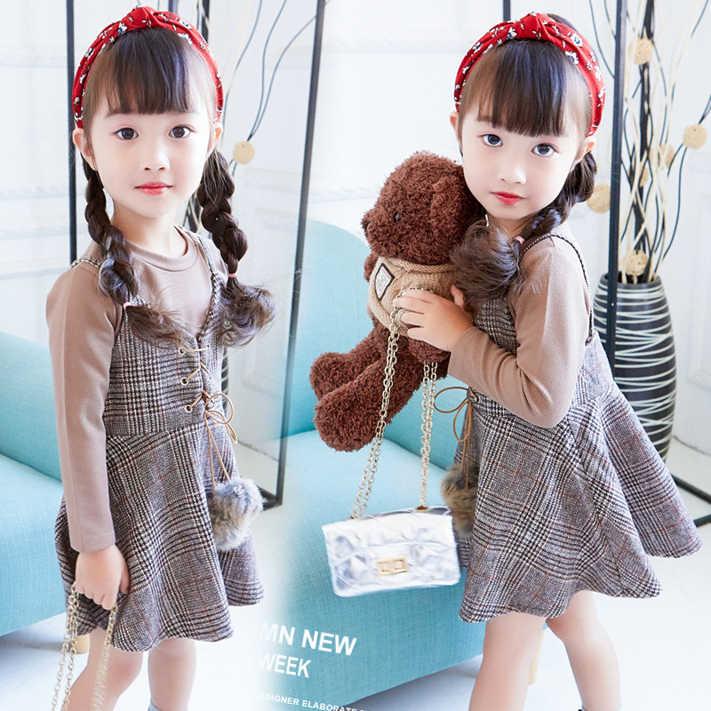Dropshipping Autumn Girls Clothes Sets Cotton T Shirts + Plaid Dress Suits Children Clothing Set Vestido De Noiva Princesa sales size 100 spring autumn dress sets for girls christmas style red dress white cotton sleeved shirts tops 2 pc clothing
