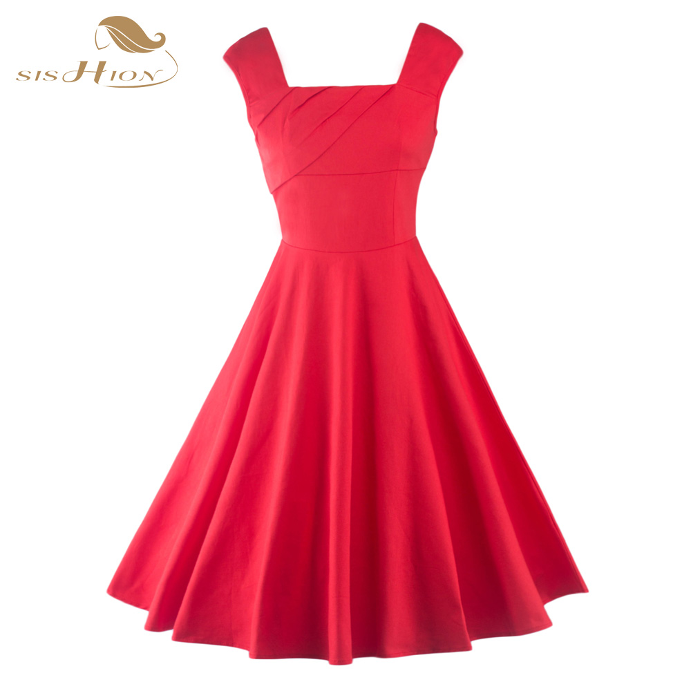 SISHION Floral Print Women Summer Casual Dress Square Collar 50s 60s Audrey Hepburn Black Red White Elegant Vintage Dress VD0431