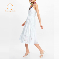 Sweet Summer dress women Za V neck hollow out Embroidery backless layering patchwork Button design summer casual dress vestidos