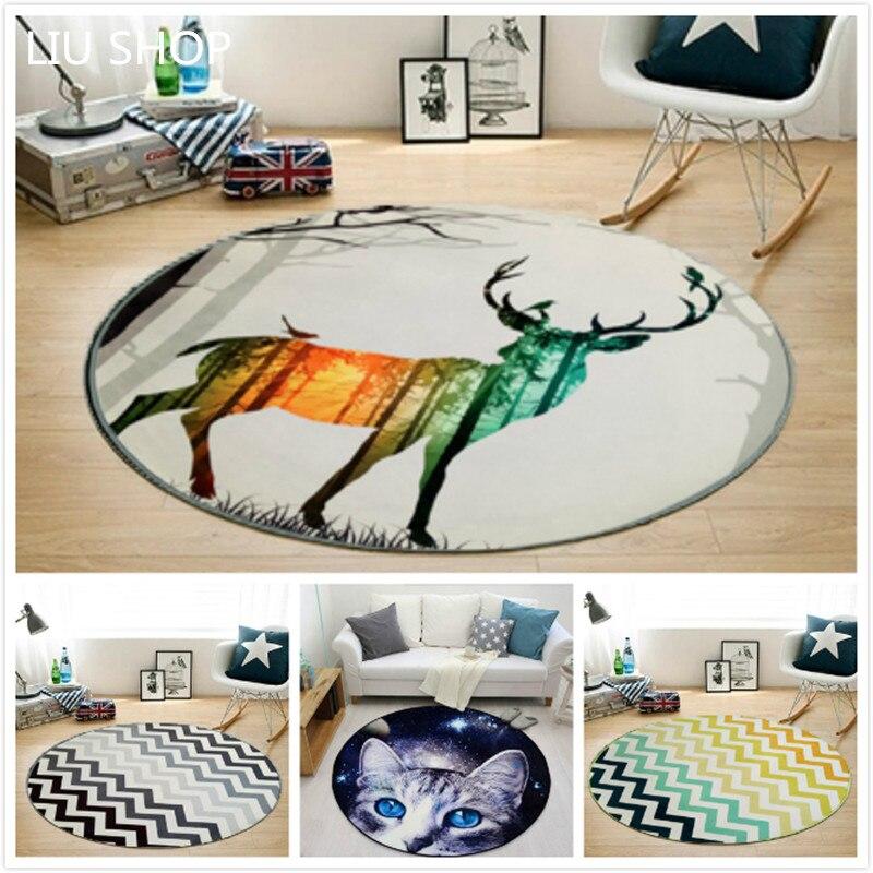 LIU moder Nordic carpet living room bedroom round RUG bed computer chair floor mat cartoon children