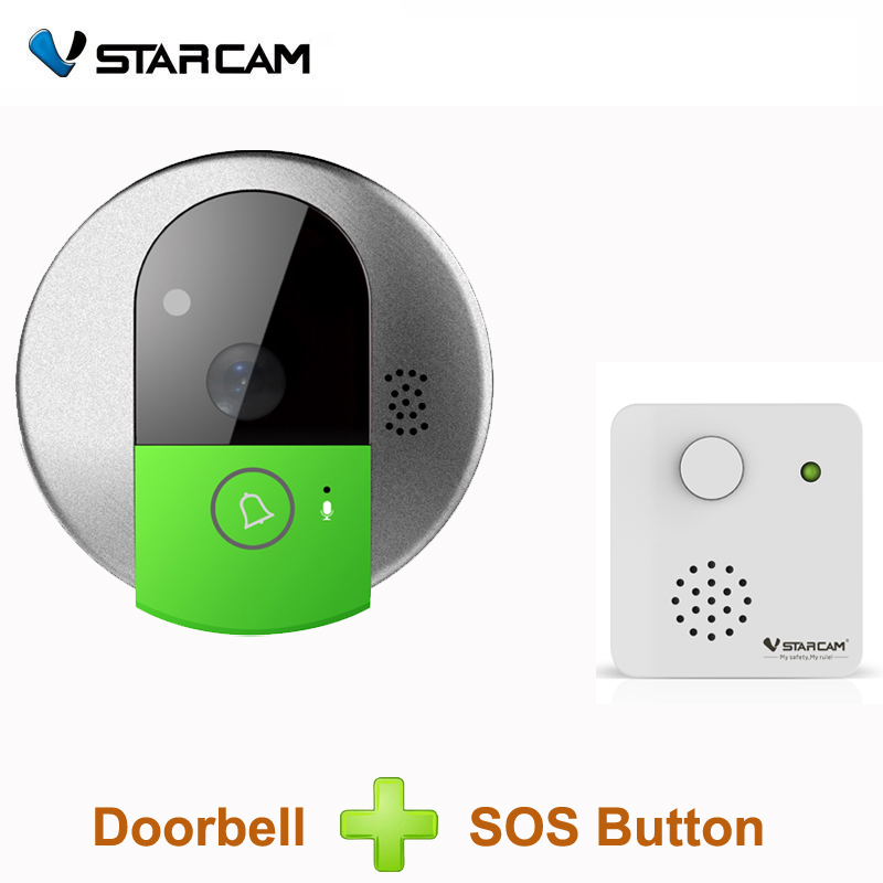 VStarcam C95 HD 720P Wireless WiFi Security IP Door Camera Night Vision Two Way Audio Wide Angle Video Doorcam Camera+SOS Button vstarcam wireless door bell hd 720p two way audio night vision wide angle video wifi security doorbell camera c95 c95 tz