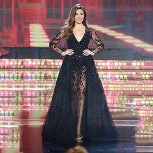 2017 Fashion V-ausschnitt Appliqued Wulstige Volle «Schwarz abendkleid Sexy A-linie Brautkleider mit Overskirt