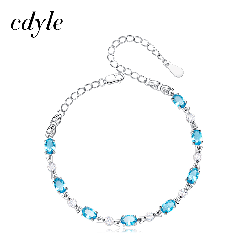 Cdyle S925 Sterling Silver Bracelets Women Bracelet Fashion Jewelry Blue Pink Austrian Rhinestone Paved Elegant Candy Shape New elegant embossed rhinestone bracelet for women