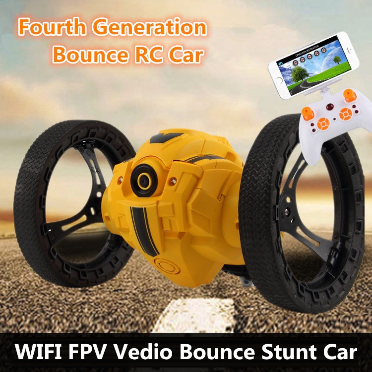Fashion Gift WIFI FPV Real Time Bounce RC Stunt Vedio Car 4CH 2.4GHz Jumping Remote Control Add WIFI camera app control car toy