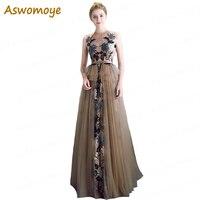 Aswomoye Элегантные линии вечернее платье длиной 2018 Новый аппликация, вышивка цветок платье для выпускного вечера illousion Топ вечернее платье