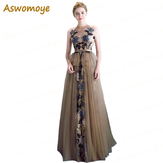 Aswomoye Elegant A-Line Evening Dress Long 2018 New Applique Embroidery  Flower Prom Dress Illousion Top robe de soiree 6b8f99d86aea