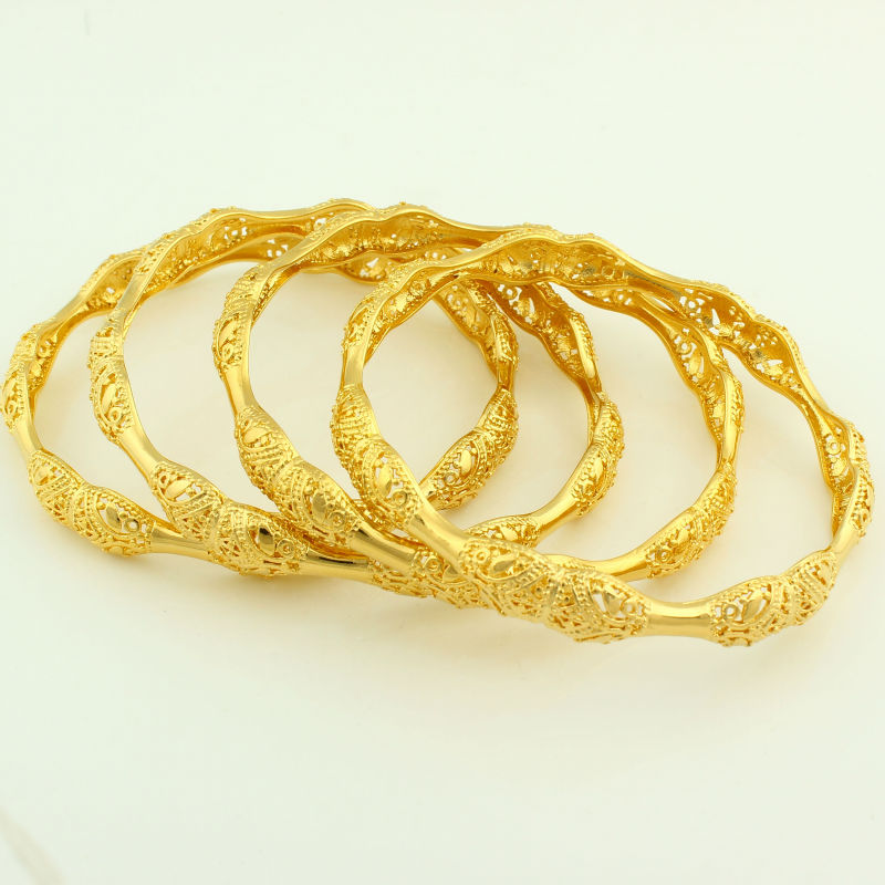 Women Bangles 24k Gold Color Dubai/Ethiopian/Arabic/African  Bracelets&Bangles Wedding Bridal Jewelry