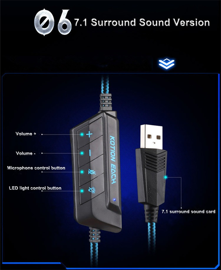 G9000 USB 7.1 Surround Sound Version Game Gaming Headphone Computer Headset Earphone Headband with Microphone LED Light (23)