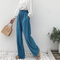 Autunm Winter Women S Elastic Waist Trousers Fashion High Waist Wide Leg Pants Female Warm Work