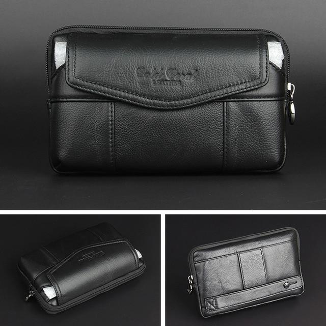 New Men Genuine Leather Vintage Travel Cell/Mobile Phone Case Hip Belt Bum Pouch Purse Fanny Pack Waist Bag Clutch Bag