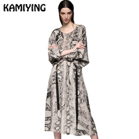 KAMIYING 100% Mulberry Silk Dress Snake Grain Print Women A Line Dress Autumn Palace New High Quality Long Dresses PKEA279