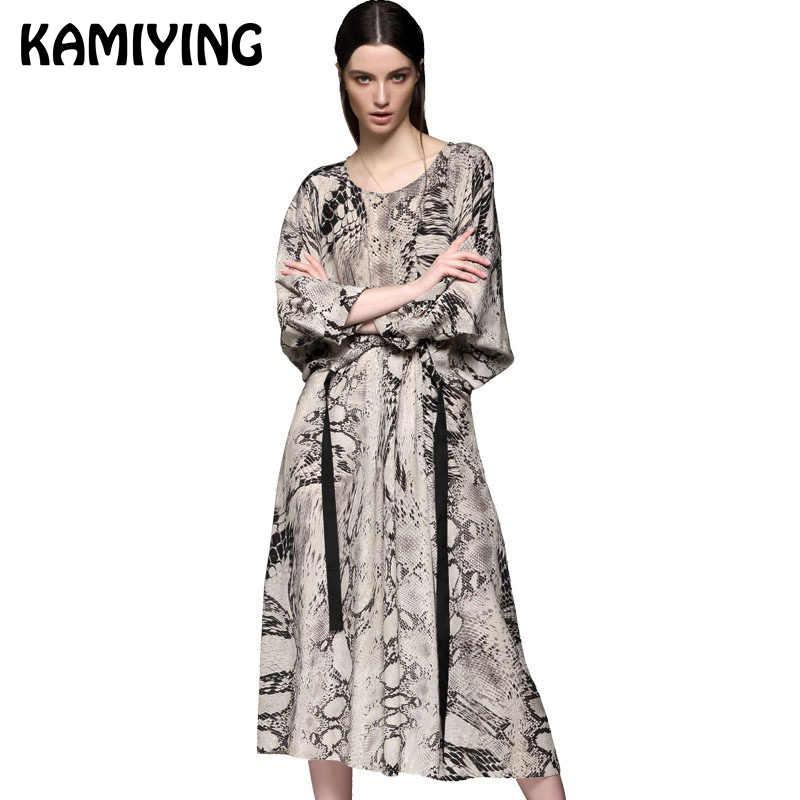 KAMIYING 100% шелковое платье шелковицы Змеиный узор с принтом женское платье трапециевидной формы осеннее Дворцовое Новое высококачественное длинное платье PKEA279