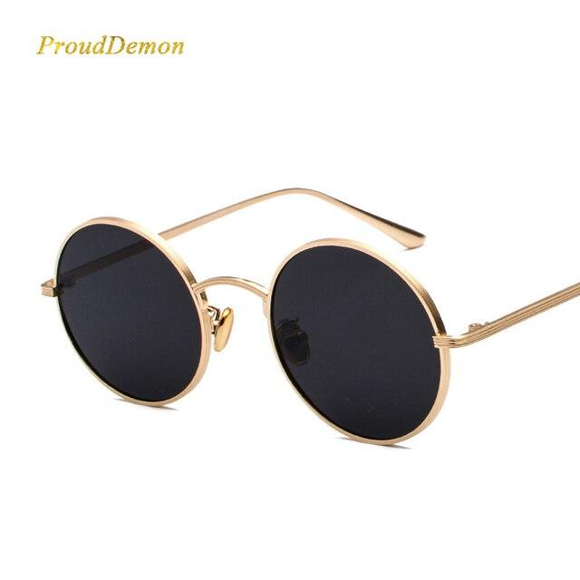 9acbf72a840 Prouddemon 2019 Stylish Round Sunglasses Women Classic Oval Sun Glasses  Yellow Red Lense Metal Frame Eyewear Oculos UV400
