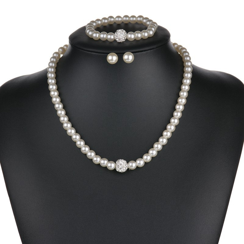 Fashion 3PCS (1 set )Temperament Pearl Necklace Earrings Bracelet Bridal Necklaces Bracelets  For Women Jewelry Dropshipping