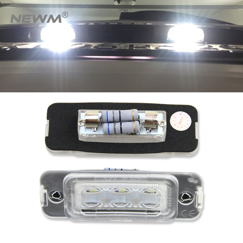 2X 18 LED Canbus Auto Number License Plate Light Car Styling Lamp Bulbs For Benz W164 2005-2011 X164 2007-2012 W251 2006-2011 cawanerl car canbus led package kit 2835 smd white interior dome map cargo license plate light for audi tt tts 8j 2007 2012