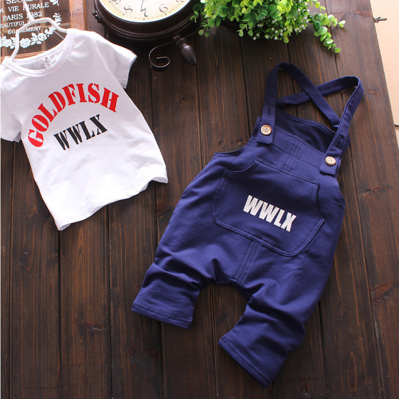 Baby Boy Clothing Set Summer Cotton Overalls For Baby Boys Tshirt + Sling Letter Pants Infant Clothes Romper Kid Clothes 5pcs lot baby bodysuits original infant jumpsuits autumn overalls cotton coveralls boy girls baby clothing set cartoon outerwear