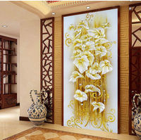 beautiful DIY DMC Cross Stitch Embroidery Kit Gorgeous lily Design Home Decoration 76*145cm Embroidered Cloth Cross Stitching