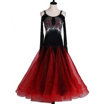 Ballroom Competition Dance Dress Women Diamond Spendex Flamenco Waltz Tango Dancing Suit Standard Ballroom Dance Dresses D-0147