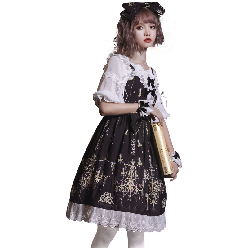 Lolita robe sombre Lolita gothique pierre précieuse robe lustre