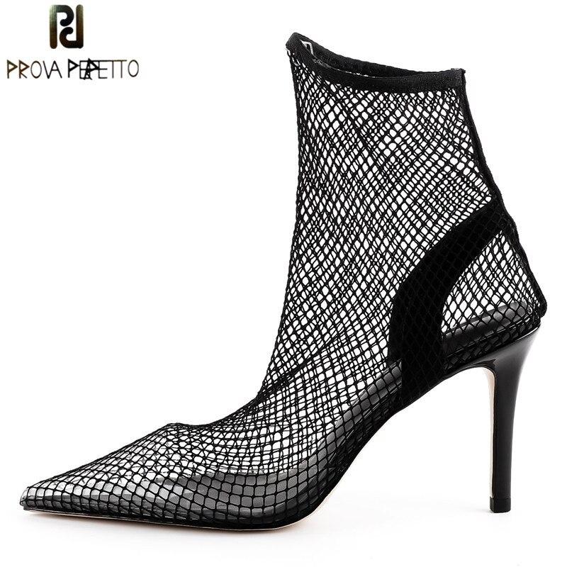 Prova Perfetto Fashion Fishnet Stocking Pointed Toe High Heels Women Pumps Sexy Mesh Air Thin High