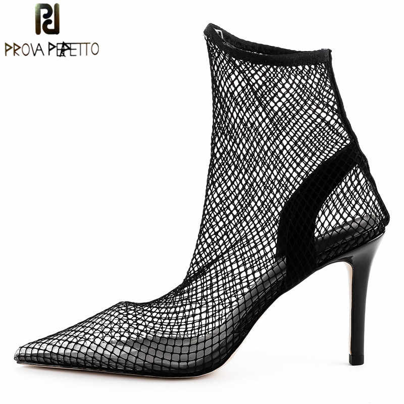 Prova Perfetto Fashion Fishnet Stocking Pointed Toe High Heels Women Pumps  Sexy Mesh Air Thin High 29b95495442a