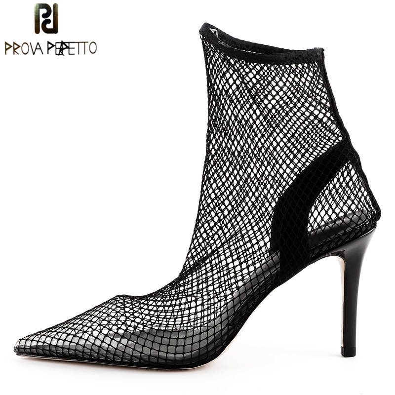 Prova Perfetto Fashion Fishnet Stocking Pointed Toe High Heels Women Pumps Sexy Mesh Air Thin High Heel Ankle Boots Summer Shoes high rise fishnet panel bikini