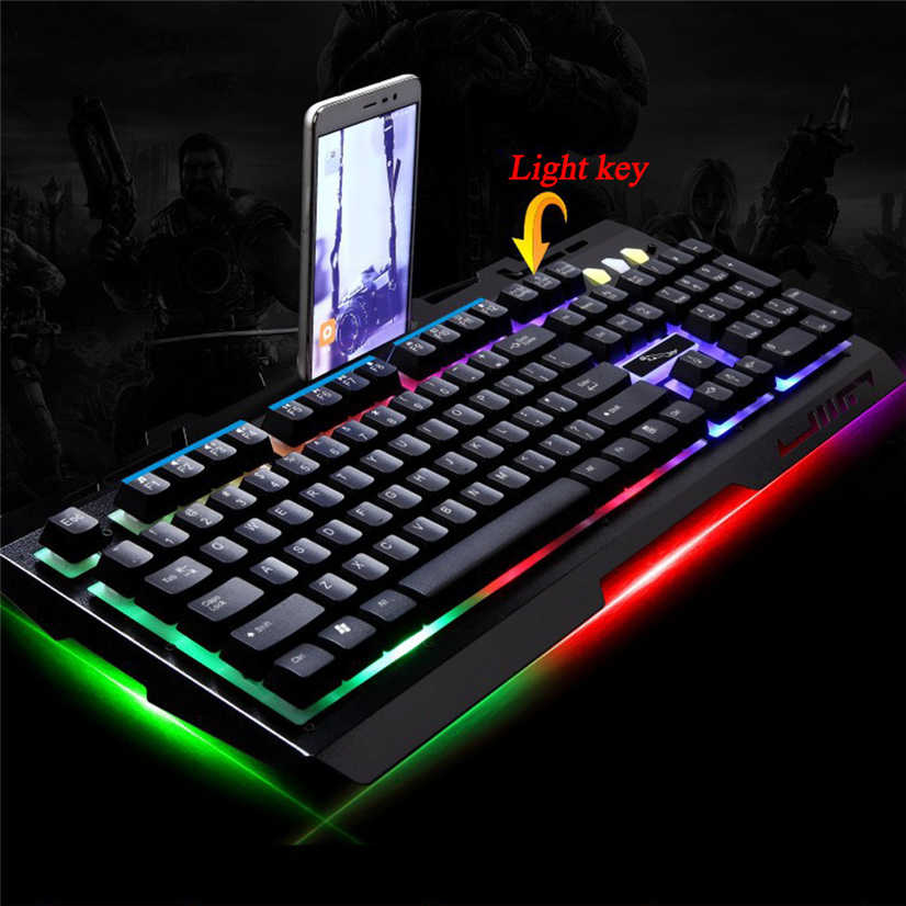 Black Computer ZGB G700 104 Keys USB Wired Mechanical Feel RGB Backlight Metal Panel Suspension Gaming Keyboard with Phone Holder Color : Black Never Fade