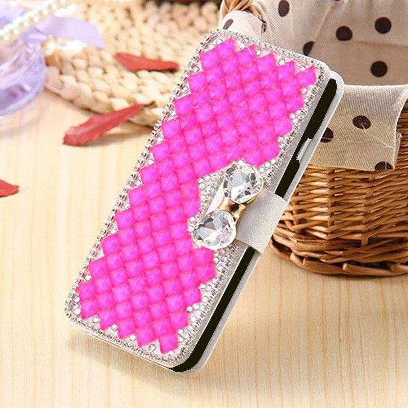 For iPhone XR XS Max Diamond Leather Case 2018 Luxury Bowknot Crystal Flip Leather Case for iPhone XS Card Slot Wallet Skin in Rhinestone Cases from Cellphones Telecommunications