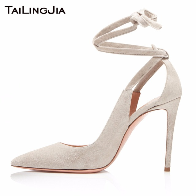 White Wedding Woman Pumps Women Shoes High Heel Pointed Toe Cross Tied Buckle Brand Black Party Evening Dress Shoe Free Shipping