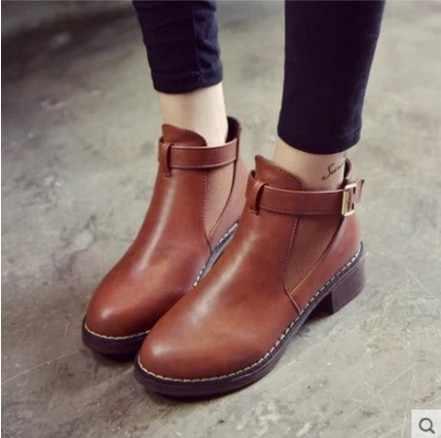 Kadın yarım çizmeler Sonbahar kadın ayakkabısı Kadın Düz Moda Platformu Yuvarlak Ayak Toka Kayış Katı Comfortabl Artı Boyutu 35-43