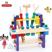 цена Baby Toys Kids Pretend play Multifunctional wrench Tool Set Maintenance Box Wooden Toy Baby Nut Combination educational toys