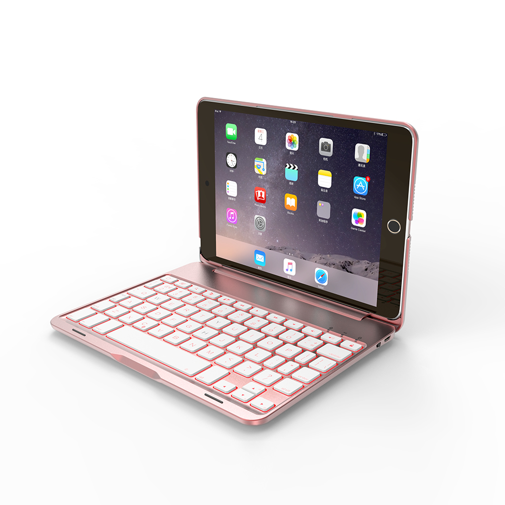 Wireless Bluetooth <font><b>Keyboard</b></font> Case for <font><b>iPad</b></font> <font><b>Mini</b></font> <font><b>4</b></font> with Colorful LED Backlight image