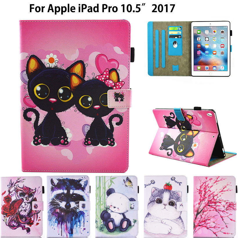 Fashion Cartoon Silicone PU Leather Cover For Apple iPad pro 10.5'' 2017 A1701 Case Funda Tablet Owl Cat Dog Pattern Stand Shell cute owl pattern pu leather case for iphone 5 5s white light green multi colored