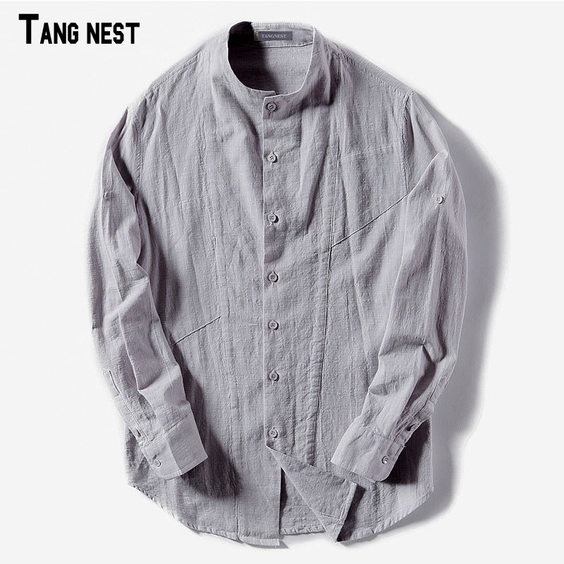 TANGNEST Summer Shirts for Man 2018 New Casual Thin Male Long Sleeve Shirts Solid Stand Collar Slim Fit Camisas MCL1950