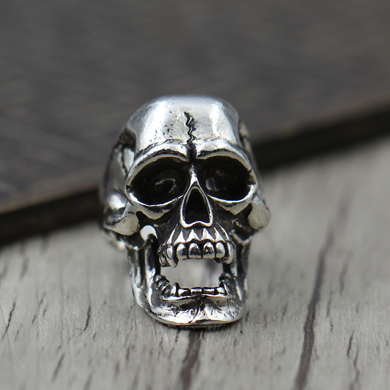 Thai silver Vintage Carved skull ring opening personality unique retro S925 Sterling Silver Ring domineering